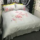 Luxurious Egyptian Cotton Embroidery Quilt Doona Duvet Cover Set Lovely Floral