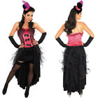 CHEAP ladies Pink Burlesque Fancy Dress Wild West Brothel Hat Sleeves Pink FS