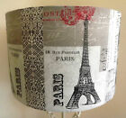 Shabby Chic Lamp shade Paris Tour Eiffel white grey  postmark script Free Gift