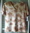 Croft & Barrow Short Sleeve Tan & Off-White Versatile Tie-Dye Knit Top
