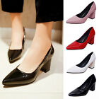 New Womens Court Shoes Thicken Block Heel Pointed Toe Pumps Ladies Formal Shoes