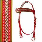 PVC Bridle - Mac Tack - Red/Gold/Silver