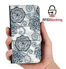 RFID Protected Black Flower PU Leather Wallet Custom Case for Apple iPhone