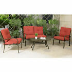 4 Piece Cushioned Outdoor Furniture Garden Patio Sectional Set Loveseat Sofa