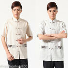 chinese short sleeve linen Embroidered pockets man tang suit 143401 size M-XXXL