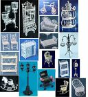 DOLLS HOUSE 1:12 SCALE WHITE WIRE FURNITURE & ACCESSORIES TO CHOOSE FROM