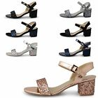 LADIES WOMEN GLITZ ANKLE BUCKLE STRAP BLOCK LOW HEEL SANDAL ALL OCCASIONS L1587