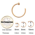 Surgical Steel Open Nose Ring Hoop Lip Ring Small Thin Piercing 7 Colour 3 Size