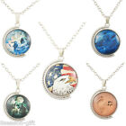 GIFT Unisex The Globe Rotatable 360 Degrees Double Time Gem  Pendant Necklace