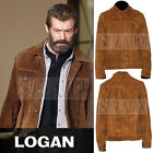 Men's Hugh Jackman Logan Wolverine 3 Inspired Brown Tan Suede Leather Jacket
