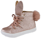 GIRLS SPOT ON PINK GLITTER BUNNY EAR AND TAIL HI-TOP TRAINERS-H4126