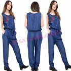 Womens Ladies Denim Look Floral Embroidery Drawstring Waist Playsuit Jumpsuit
