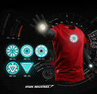 The Avengers Iron Man Tony Stark Mk6 Arc Reactor T-Shirt Sweater Red Cosplay