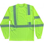 Class 3 Hi-Viz Lime Green Comfort Stretch Work Shirts Reflective Long Sleeve