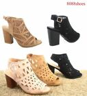 Women's Cute Elastic Open Toe Chunky Heel Booties Sandal Shoes Size 6 - 10 NEW