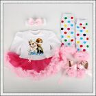 4Pcs Baby Girls Kids Frozen Disney Cartoon Clothes Romper Outfit Playsuits dress <br/> *Headband+Romper+Leg Warmers+Shoes Set*UK Stock*UK Sale