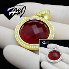 925 STERLING SILVER ICED OUT BLING SILVER/GOLD HIP HOP ROUND RUBY PENDANT*SP96