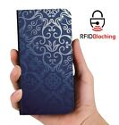 Blue Vintage Luxury Flip Cover Wallet Card PU Leather Phone Case Stand Galaxy
