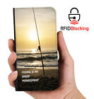 RFID Protected Fishing Anger Mgnt PU Leather Phone Wallet Case Samsung Galaxy