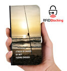 RFID Protected Fishing Stress PU Leather Wallet Custom Case Cover Apple iPhone