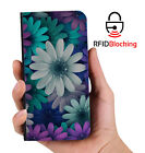 RFID Protected Flower Mix PU Leather Wallet Custom Case Cover for Apple iPhone