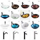 Bathroom Tempered Glass Vessel Sink Faucet Pop-up Drain Bath Accessory Set Combo