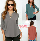 Fashion Big Size 5XL Womens Blouse Loose Ruffle Shirt Long Sleeve V Neck Tops
