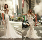 New Lace Appliques Long Sleeve Mermaid Wedding Dresses Bridal Gown Custom 2-26++