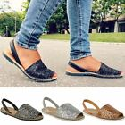 Womens Ladies Summer Menorcan Glitter Sandals Slingback Flip Flops Beach Size UK