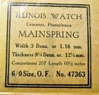 ILLINOIS WATCH 47363 Replacement Mainspring 3 x 9 1/4 x 10 1/2 - 6/0s Open Face