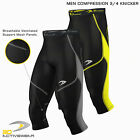 Mens Compression Tights Skin Tight Pants Three Quarter Base Layer Shots 3/4 Legg
