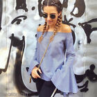 2017 Womens Oversized Off Shoulder Horn Sleeve T-Shirts Casual Loose Tops Blouse