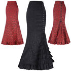 New Vintage Gothic Victorian Women Ladies Corset Skirt Brocade Lace Long Dress