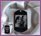 Engraved military dog tag personalised text and photo pictur