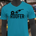 TORCH DOWN ROOFER CONSTRUCTION HOME IMPROVEMENT Mens Turquoise V-Neck T-Shirt