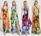 Womens Floral Cross Over Back Maxi Dress ONE SIZE
