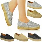 Womens Ladies Platform Glitter Slip On Espadrilles Flat Sandals Pumps Shoes Size