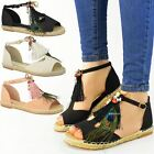 Womens Ladies Flat Espadrilles Sandals Tassel Feather Pumps Strappy Shoes Size
