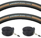(Pair of) Michelin Dynamic Amber / Tan Wall Road Bike Tyres & Inner Tubes 700x28