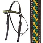 Barcoo/Stockmans Bridle - Mac Tack - PVC Horse Bridle - Brown, Green, Yellow
