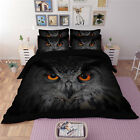 3D Black Owl Quilt Duvet Doona Cover Set Single Queen King Size Sheet Fitted