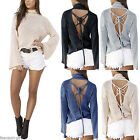 Spring New Women Backless Lace-up Batting Sleeve Turtle Neck Knitted Blouse Tops