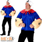 Sailorman Mens Fancy Dress Strong Sailor TV Cartoon Character 80s Adults Costume