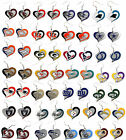 NFL Licensed PICK YOUR TEAM Swirl Heart Dangle Charm Glitter Earrings