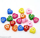 Wholesale Lots HX Mixed Multicolor Cute Heart Wood Beads 14x13mm