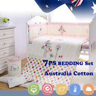 7pcs Baby Crib Bedding set Bumpers Quilt Pillow Cot Sheet Newborn Gift Pink Girl