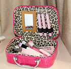 Makeup Cosmetic Mirror Leather Bag Travel Pouch Zippered Toiletries 20*15*8cm