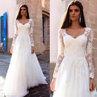 Elegant 2017 A Line Long Sleeve Beach Bridal Gown White Ivory Lace Wedding Dress