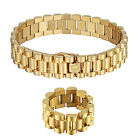 Mens Presidential Link Bracelet & Ring Set 14K Yellow Gold Tone Stainless Steel