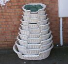 Wicker Dog Basket in shades of white  with cushion - 10 sizes